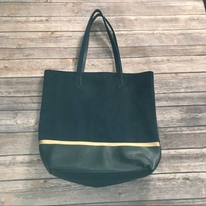 Faux Suede & Leather Tote